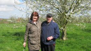 John Heady and Maria in the orchard behind their houses